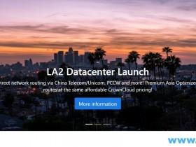 CrownCloud:洛杉矶VPS/1核/512M内存/1T HDD/6TB流量/1G端口/KVM/月付$7/QN机房/大盘鸡